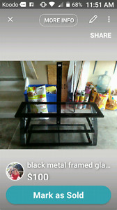 Tv stand black metal frame, 3 glass shelves .