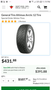 REDUCED 175/65R14 winter tires USED ONLY 1 SEASON