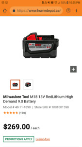 Milwaukee m18 9.0 Batteries