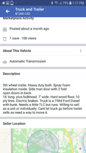 5th wheel trailer and truck
