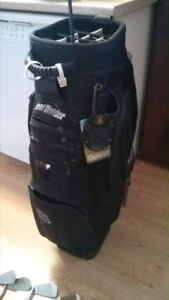 Excellent bag, in good shape plus 11 right handed irons, Macgreg