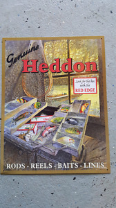 Heddon fishing tin sign