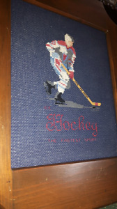 Hockey Needle point picture in wooden frame
