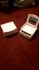 Two wooden jewellery boxes with mirror
