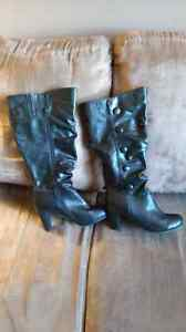 High heeled boots with wide calf, size 10