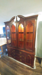 Antique Hard Wood China Cabinet, Upper and Lower