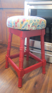Red Swivel Kitchen Stool