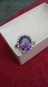 Amethyst Ring Sterling Silver Size 6
