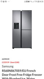 Samsung American fridge freezer 3 door with water and ice