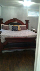 King size bed - solid wood + matress