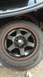 """Set of 4 15"""" rims and tires"""
