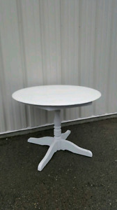 Solid wood round white table