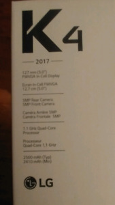 Brand new  opened but never used lg k4 2017