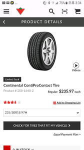 4 used continental contipro contact  235 50R 18 tires.