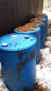 Blue 50 Gallon Plastic Barrels with plugs