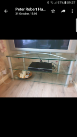 Tv stand/ glass and chrome