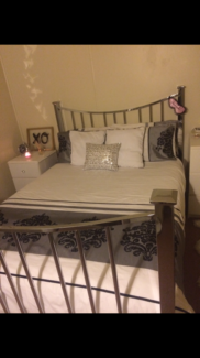 Chrome Plated Metal Double Bed