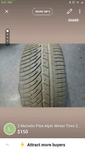 2 Michelin Pilot Alpine Winter Tires 245/40r18