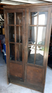 ANTIQUE GLASS CABINET/ BUFFET