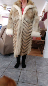 Coyote full length fur coat