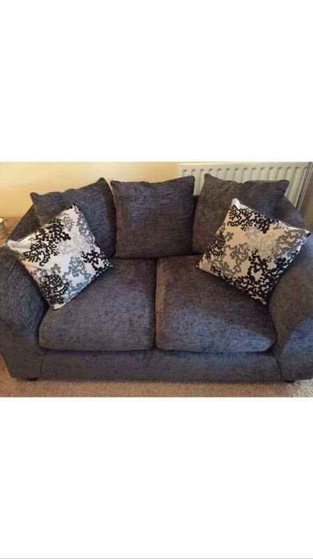 As New Clara Charcoal Fabric Sofa 2 And 3 Seater Argos