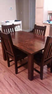 Rough sawn harvest table with chairs