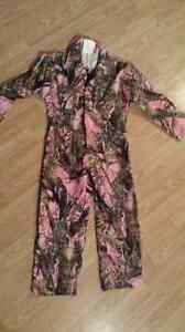 Girls Size 8 Pink Camo Coveralls BRAND NEW