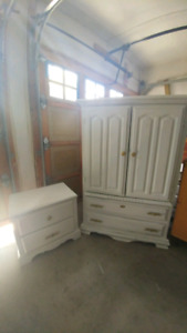 white armoire with matching end table