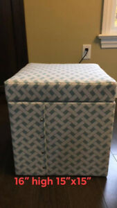 Sweet Teal and White Storage Ottoman