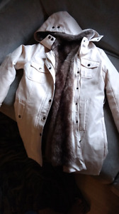 (fake) fur lined coat with removable shell