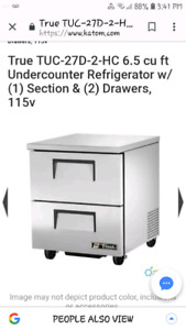True 2 drawer refrigerator with worktop