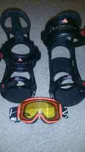 Snowboard bindings, goggles, and deck for sale