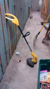 Electric weed wacker plus shovel and rake
