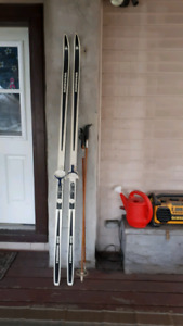 Cross country skis and poles (6 feet 10 inches)