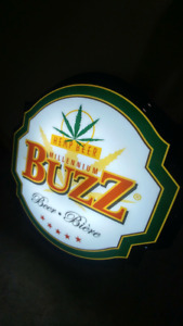BUZZ BEER LIGHTED SIGN. 34 INCH.