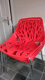 Sapling tree plastic indoor/ outdoor chairs (set of 4)
