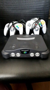 N64 with 2 controllers and hook ups