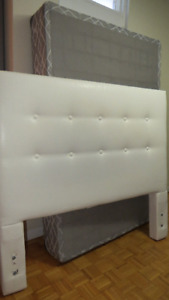 leather chair, Geneva headboard with complete frame