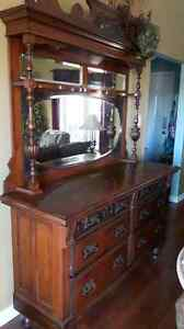 ANTIQUE hutch with attached mirror