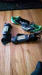 Soccer shoes and knee pads