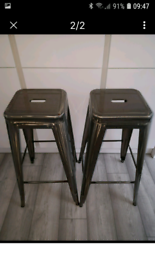 WANTED MATCHING PAIR OF SILVER GALVANISED BREAKFAST/BAR STOOLS