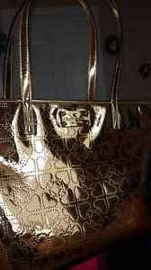 KATE SPADE GOLD METALLIC TOTE PURSE