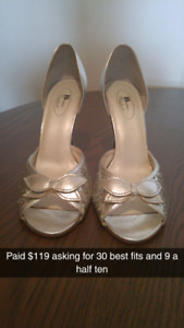 Silver sparkly high heels.