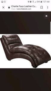 Brown Faux Leather Chaise Lounge Chair