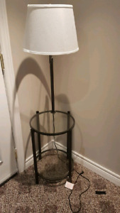 Glass top side table/lamp combo