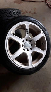 "16"" rims with brand new 205 45 16 set of 4"
