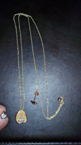 Earrings, pendant, and necklace