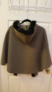 Faux Fur-Lined Taupe Shrug with Hood - Made in France, Bought UK