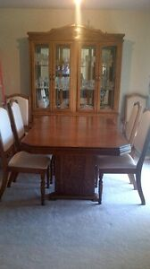 Solid Wood Dining Room Set and Hutch