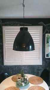 West elm XL industrial glossy black pendant Kitchener / Waterloo Kitchener Area image 2